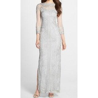 JS Collections Womens Illusion Soutache Column Gown Dress