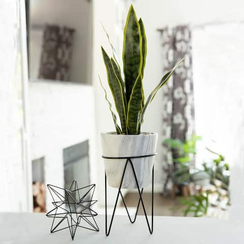 1.75FT Snake Plant in Marble on Metal Stand - ONE-SIZE