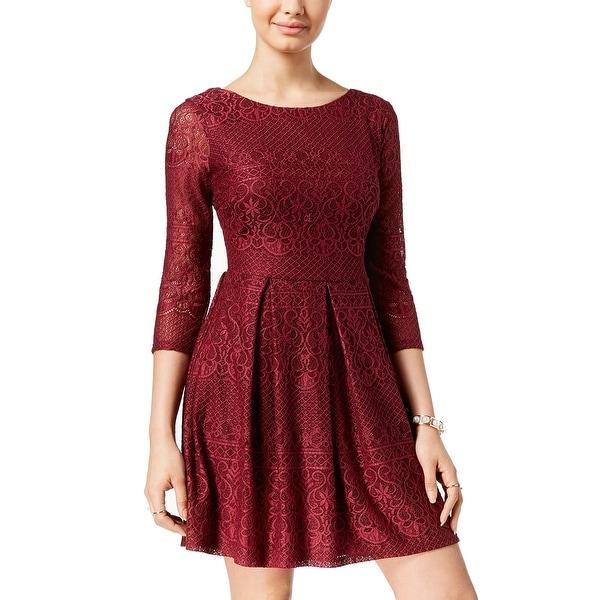 BCX Burgundy Red Size 6 Junior Scoop-Neck Pleat Lace A-Line Dress