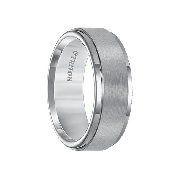 BENJAMIN Tungsten Carbide Wedding Band with Polished Step Edges Satin Finished Center by Triton Rings - 8mm