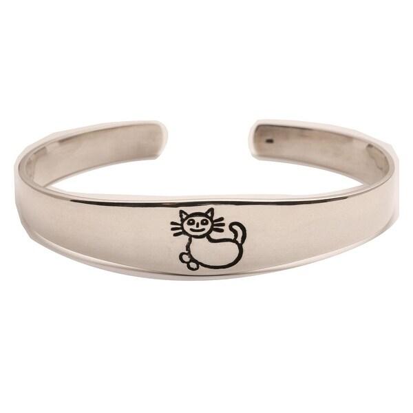 Women's Kind Hearted Woman Cat Sterling Silver Cuff Bracelet