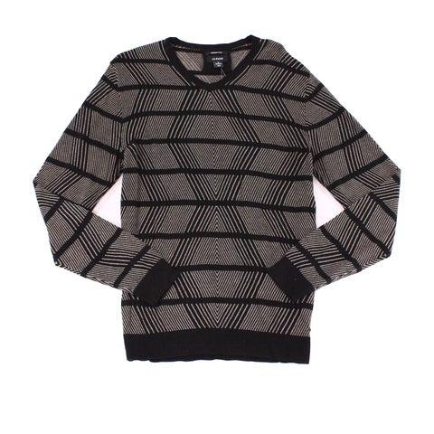 Alfani Black Mens Size Medium M V-Neck Striped Ribbed Sweater