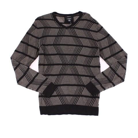 Alfani Deep Black Mens Size 2XL Line Diamond Knit V-Neck Sweater