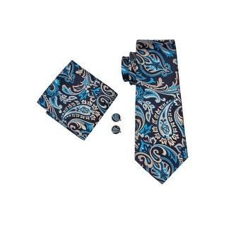 Men's Blue Black & Khaki Paisley 100% Silk Neck tie Hanky Cufflinks Set - 59 inch x 3.4 inch