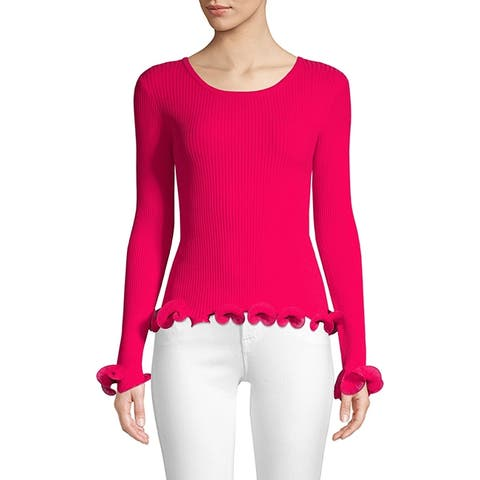 MILLY Wired Edge Pullover, Raspberry P