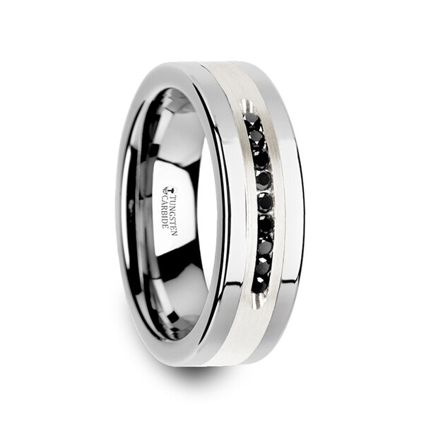 THORSTEN - BLACKSTONE Flat Tungsten Wedding Band with Brushed Silver Inlay Center and 9 Channel Set Black Diamonds