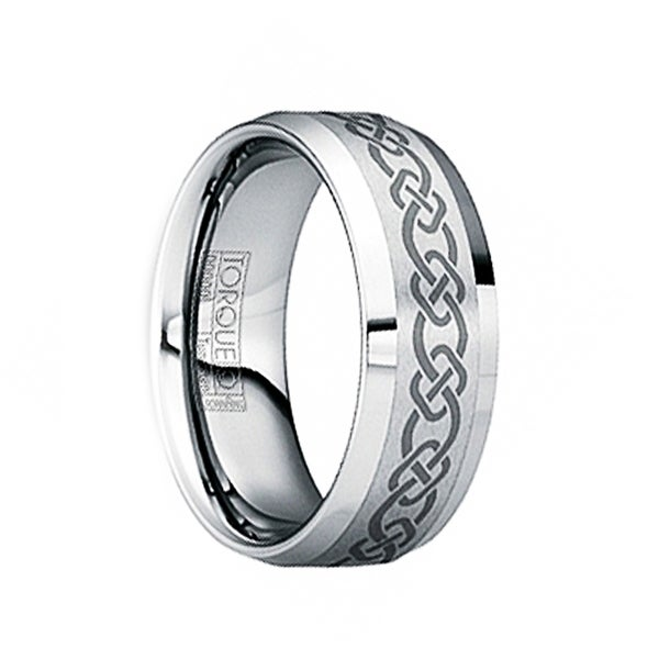 HERMINIUS Brushed & Polished Tungsten Wedding Ring with Engraved Celtic Pattern by Crown Ring