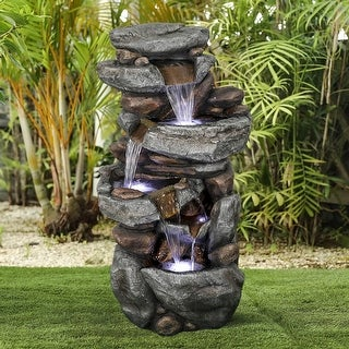 Link to 5-Tier Outdoor Water Fountain with LED Lights for Home Garden, Yard Similar Items in Outdoor Decor