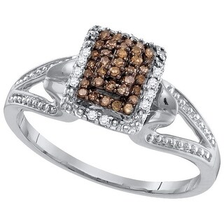 10kt White Gold Womens Round Cognac-brown Colored Diamond Cluster Fashion Ring 1/7 Cttw - Brown