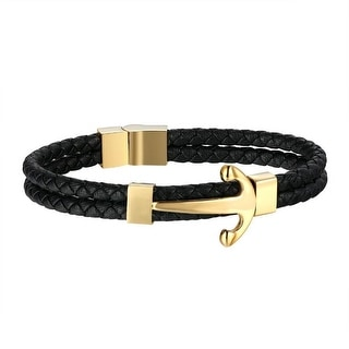 Designer Mens Ship Anchor Bracelet Gold Tone Over Stainless Steel Leather Wristband