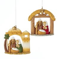 """Club Pack of 12 Brown and Cream Holy Family Religious Ornaments 2.75"""""""