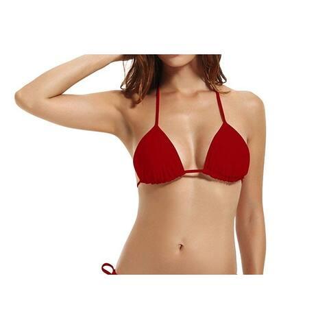 Zeraca Red Women Size Large L Removeable-Padding Bikini Top Swimwear