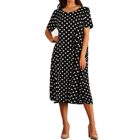 Funfash Women Plus Size Short Sleeves Polka Dots Black White Dress