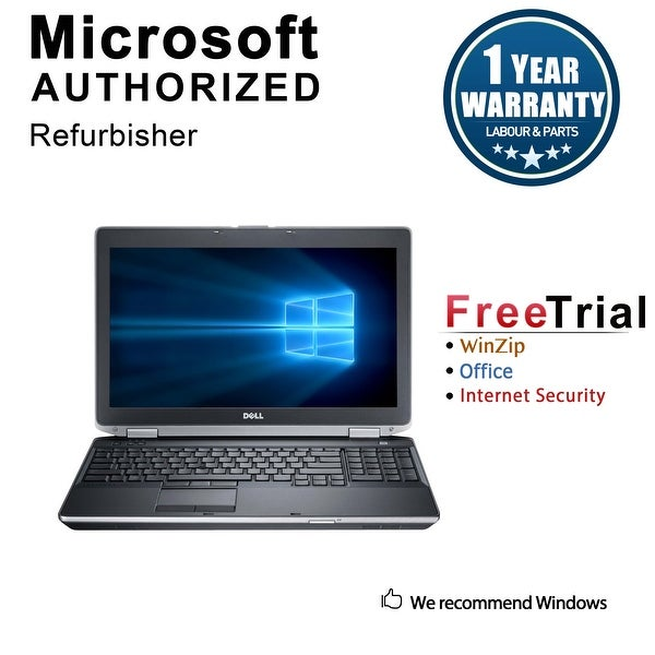 "Refurbished Dell Latitude E6530 15.6"" Laptop Intel Core i5 3210M 2.5G 4G DDR3 500G DVDRW Win 10 Pro 1 Year Warranty - Black"