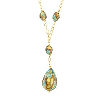 Murano Glass Drop Necklace in 14K Gold-Bonded Sterling Silver - Multi-Color