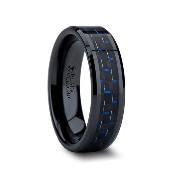 THORSTEN - AVITUS Black Beveled Ceramic Ring with Blue & Black Carbon Fiber Inlay - 6mm