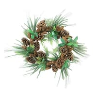 "24"" Mixed Pine Artificial Christmas Wreath with Pine Cones - Unlit - green"