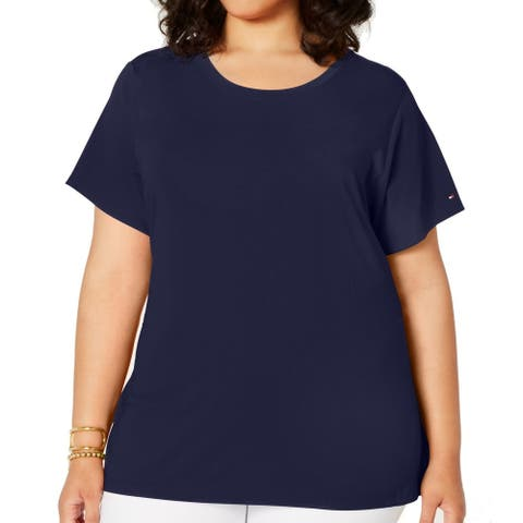 Tommy Hilfiger Women's Top Navy Blue Size 1X Plus Knit Tie Waist
