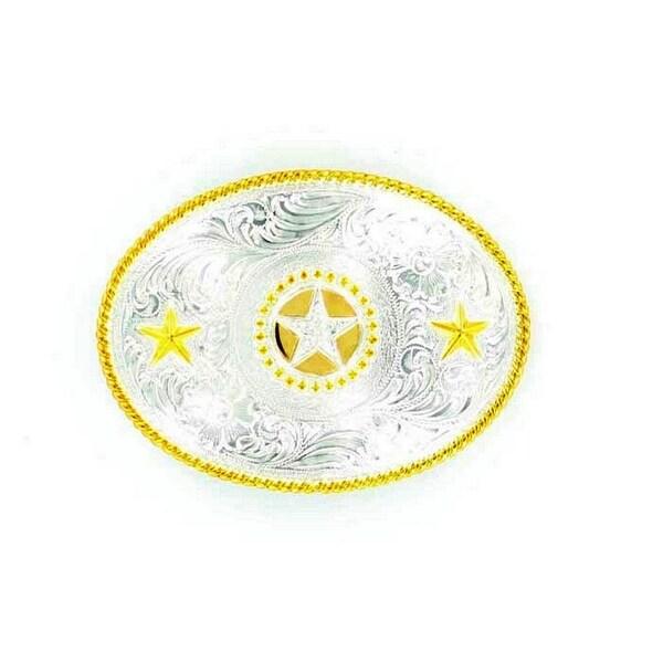 Nocona Western Belt Buckle Oval Texas Star Silver Gold - 3 x 4