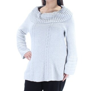 Womens Gray Long Sleeve Jewel Neck Sweater Size XL