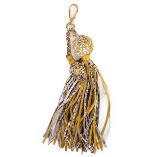 Roberto Cavalli Yellow Lion Pendant Snakeskin Ball Chain Tassel Keychain