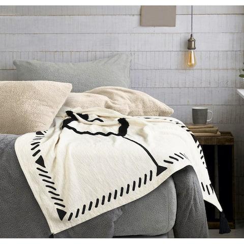 Modern Boho Tufted Diamond Bordered Cotton Throw Blanket