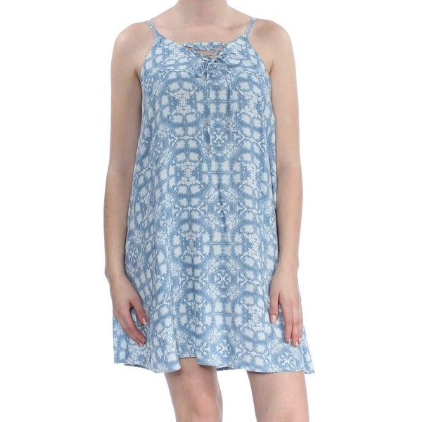 f5b813f06d Shop Roxy Blue Women's Size Small S Abstract Printed Lace-Up Shift ...