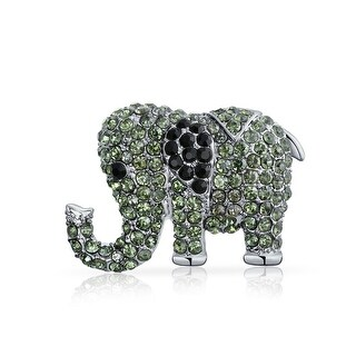 Bling Jewelry Green And Black Crystal Alloy Elephant Animal Brooch Pin