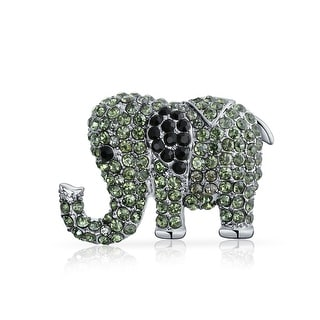Elephant Trunk Up Brooch Pin Grey Green Black Crystal Silver Plated
