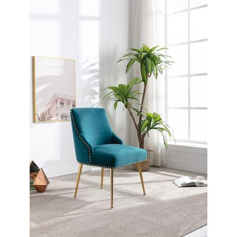 Modern Blue Velvet Upholstered Dining Chair