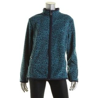 Karen Scott Womens Printed Mock-Turtleneck Fleece Jacket - L