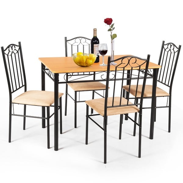 Shop 5 PC Dining Set Wood Metal Table And 4 Chairs Kitchen