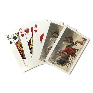 Christmas Greeting - Santa and Sleigh - Vintage Holiday Art (Playing Card Deck - 52 Card Poker Size with Jokers)
