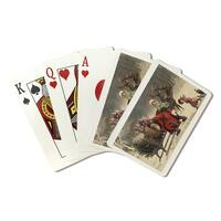 Christmas Greeting Santa & Sleigh Vintage Holiday (Poker Playing Cards Deck)