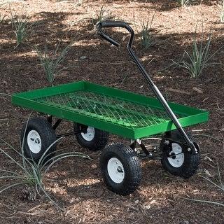 "Arksen 1000 lb Flatbed Utility Garden Cart Padded Pull Handle, 10' Pneumatic Tires All-Terrain Nursery Farm, 38"" x 20"""