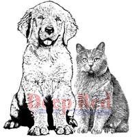 """Deep Red Cling Stamp 4""""X5""""-Furry Friends"""