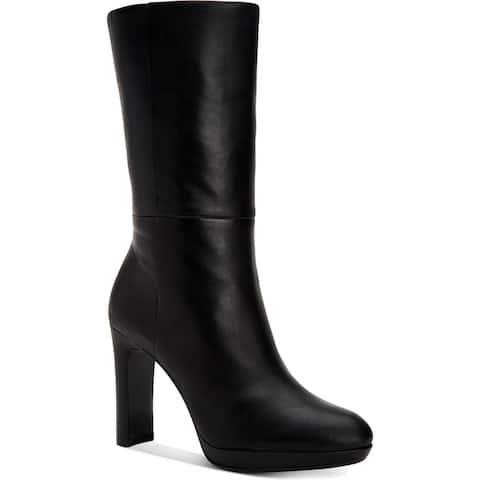 Calvin Klein Womens Pebbles Mid-Calf Boots Block Heel