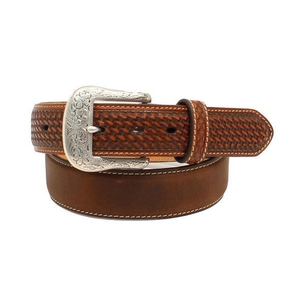 Ariat Western Belt Men Basketweave Nailhead Leather Aged Bark