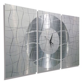 Statements2000 Silver / White 38-inch Modern Metal Panel Wall Clock - Contemporary Vibrations