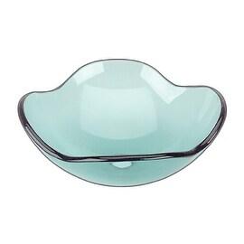 Bathroom Glass Vessel Sink Light Green Apple Blossom Flower