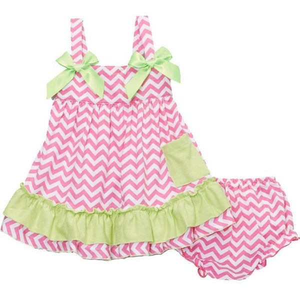 Wenchoice Baby Girls Hot Pink Lime Chevron Bow Ruffles Swing Top Set