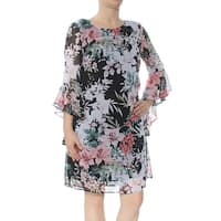Connected Apparel Black White Womens Size 6 Floral Sheath Dress