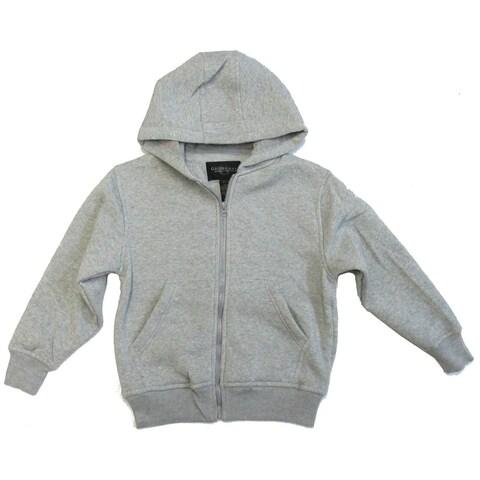 Boys Gray Lightweight Pockets Fleece Zipper Hoodie Jacket 8-16