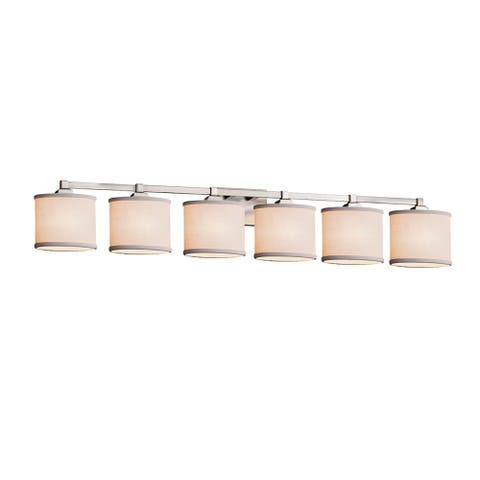 Textile Regency 6-Light Brushed Nickel Bath, White Oval Shade