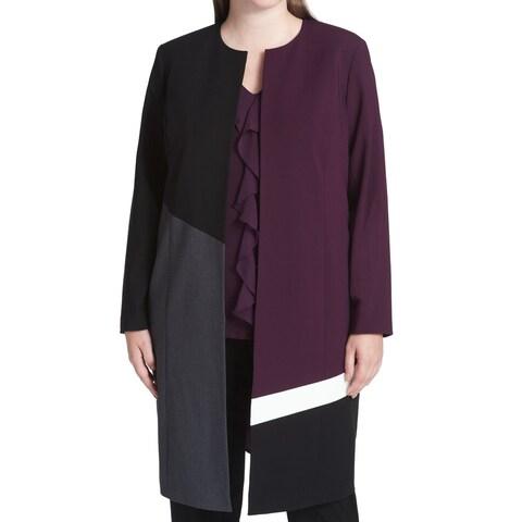 Calvin Klein Purple Women's 16W Plus Colorblock Longline Jacket