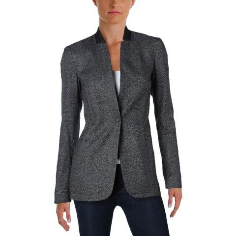 T Tahari Womens Adara One-Button Blazer Tweed Faux Leather Trim