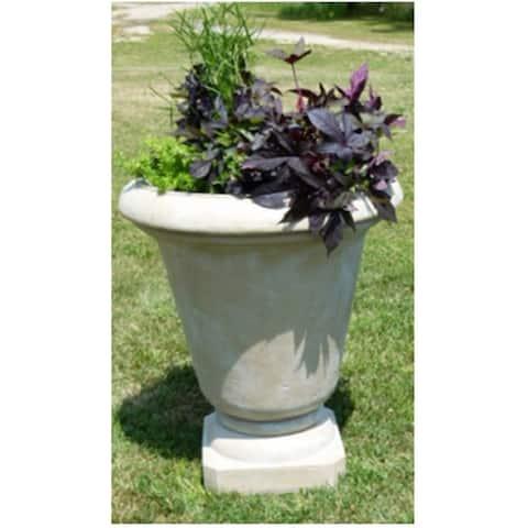 "Set of 2 Cedar Brown Antique Stone Outdoor Patio Garden Genoa Urns 30"""