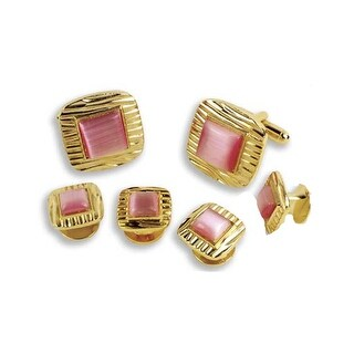 Decorative Square with Pink Center Cufflinks and Studs