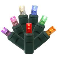 """Set of 50 Multi-Color Commercial Grade LED Wide Angle Christmas Lights 6"""" Spacing - Green Wire - multi"""