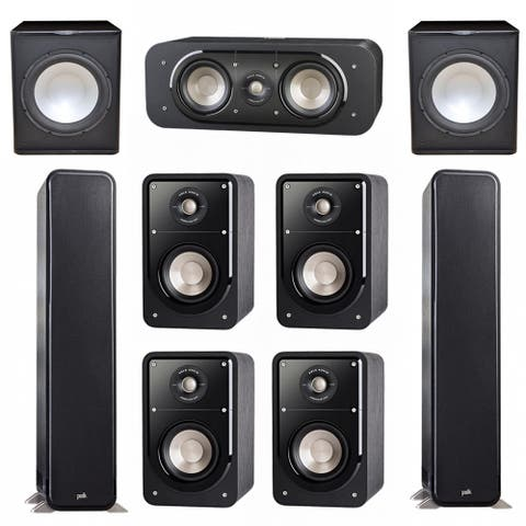 Polk Audio Signature 7.2 System with 2 S55 Speakers, 1 Polk S30, 4 Polk S15 Speakers, 2 Premier Acoustic PA-150Sub